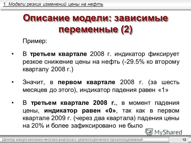 Центр макроэкономического анализа и краткосрочного прогнозирования Описание модели: зависимые переменные (2) Пример: В третьем квартале 2008 г. индикатор фиксирует резкое снижение цены на нефть (-29.5% ко второму кварталу 2008 г.) Значит, в первом кв