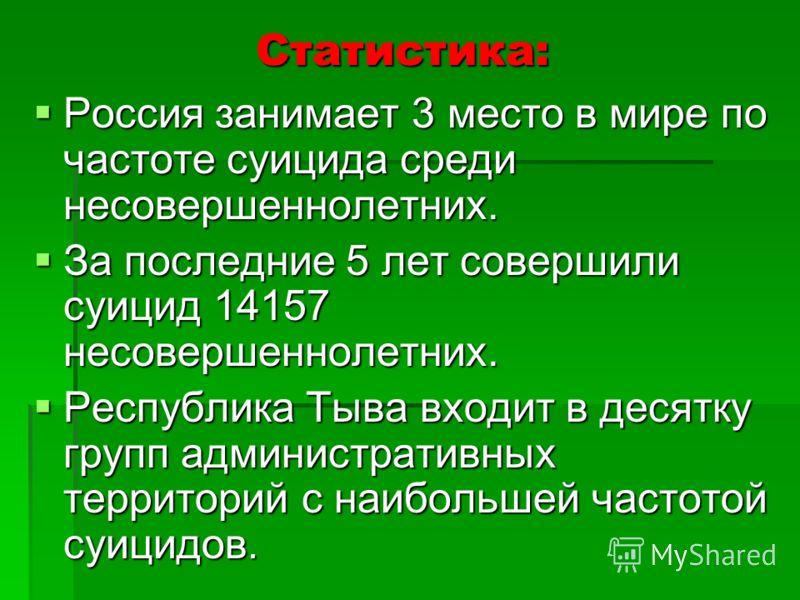 Статистика: Россия занимает 3 место в мире по частоте суицида среди несовершеннолетних. Россия занимает 3 место в мире по частоте суицида среди несовершеннолетних. За последние 5 лет совершили суицид 14157 несовершеннолетних. За последние 5 лет совер