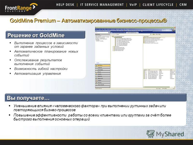 Решение от GoldMine Выполнение процессов в зависимости от заранее заданных условий Автоматическое планирование новых событий Отслеживание результатов выполнения событий Возможность гибкой настройки Автоматизация управления GoldMine Premium – Автомати