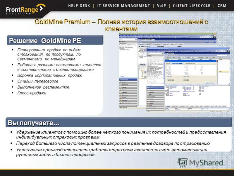 Решение GoldMine PE Планирование продаж по видам страхования, по продуктам, по сегментами, по менеджерам Работа с разными сегментами клиентов в соответствии с бизнес-процессами Воронка корпоративных продаж Стадии переговоров Выполнение регламентов Кр