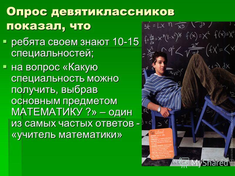Опрос девятиклассников показал, что ребята своем знают 10-15 специальностей; ребята своем знают 10-15 специальностей; на вопрос «Какую специальность можно получить, выбрав основным предметом МАТЕМАТИКУ ?» – один из самых частых ответов - «учитель мат