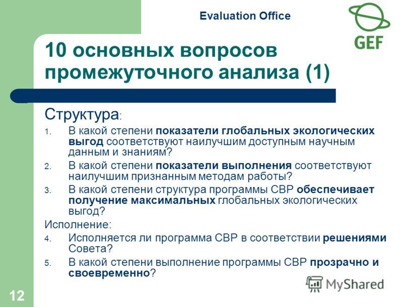 Evaluation Office 12 10 основных вопросов промежуточного анализа (1) Структура : 1. В какой степени показатели глобальных экологических выгод соответствуют наилучшим доступным научным данным и знаниям? 2. В какой степени показатели выполнения соответ