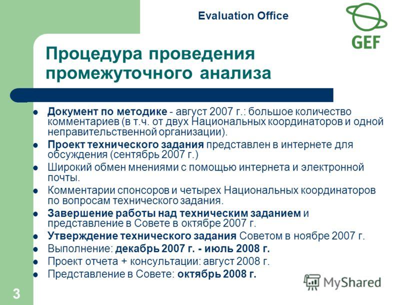 Evaluation Office 3 Процедура проведения промежуточного анализа Документ по методике - август 2007 г.: большое количество комментариев (в т.ч. от двух Национальных координаторов и одной неправительственной организации). Проект технического задания пр