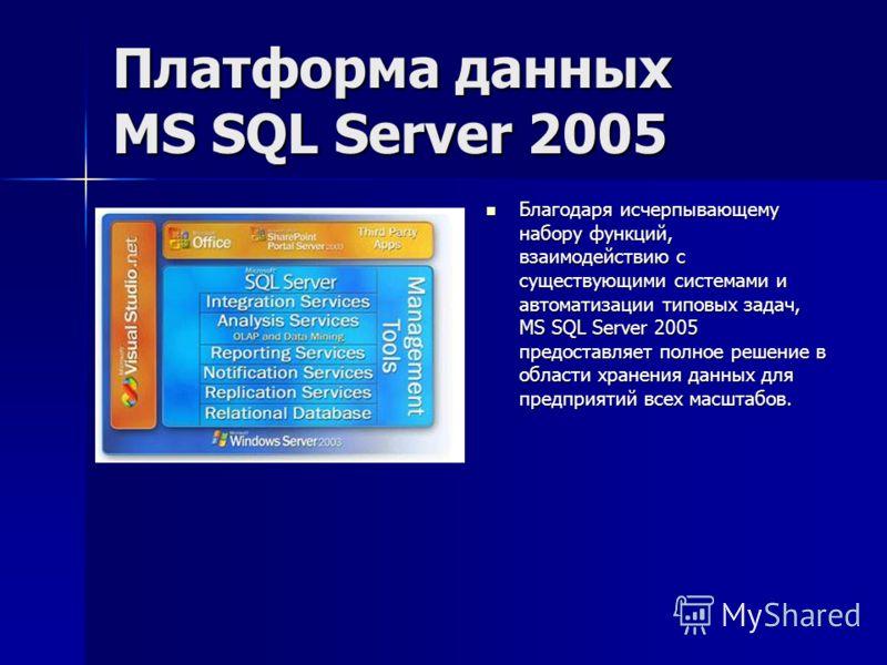 Платформа данных MS SQL Server 2005 Благодаря исчерпывающему набору функций, взаимодействию с существующими системами и автоматизации типовых задач, MS SQL Server 2005 предоставляет полное решение в области хранения данных для предприятий всех масшта