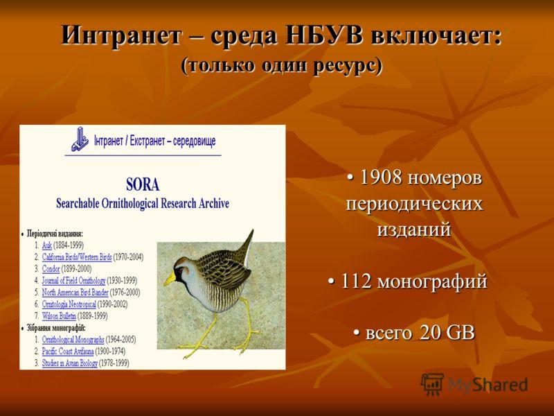 1908 номеров периодических изданий 1908 номеров периодических изданий 112 монографий 112 монографий всего 20 GB всего 20 GB Интранет – среда НБУВ включает: (только один ресурс)