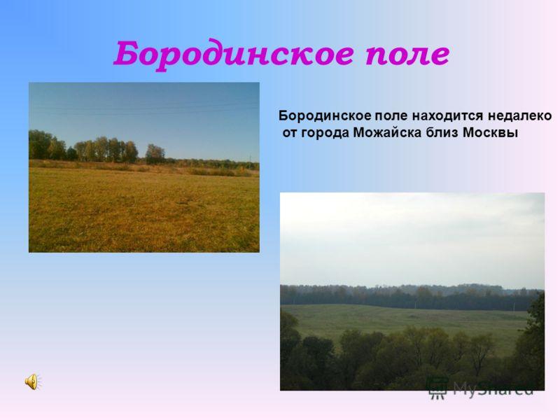 Бородинское поле Бородинское поле находится недалеко от города Можайска близ Москвы