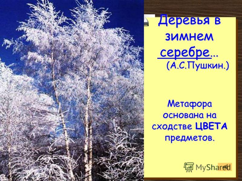 Деревья в зимнем серебре… (А.С.Пушкин.) Метафора основана на сходстве ЦВЕТА предметов.