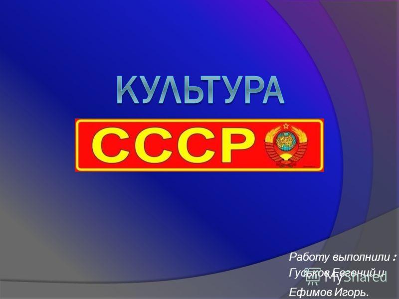 Работу выполнили : Гуськов Евгений и Ефимов Игорь.