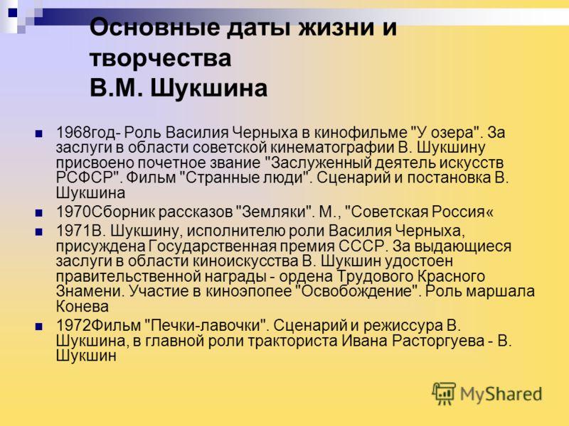 Основные даты жизни и творчества В.М. Шукшина 1968год- Роль Василия Черныха в кинофильме