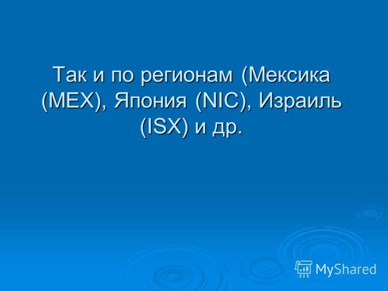 Так и по регионам (Мексика (МЕХ), Япония (NIC), Израиль (ISX) и др.