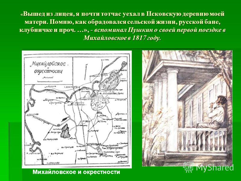 « Вышед из лицея, я почти тотчас уехал в Псковскую деревню моей матери. Помню, как обрадовался сельской жизни, русской бане, клубничке и проч. …», - вспоминал Пушкин о своей первой поездке в Михайловское в 1817 году. Михайловское и окрестности