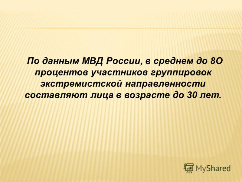 По данным МВД России, в среднем до 8О процентов участников группировок экстремистской направленности составляют лица в возрасте до 30 лет.