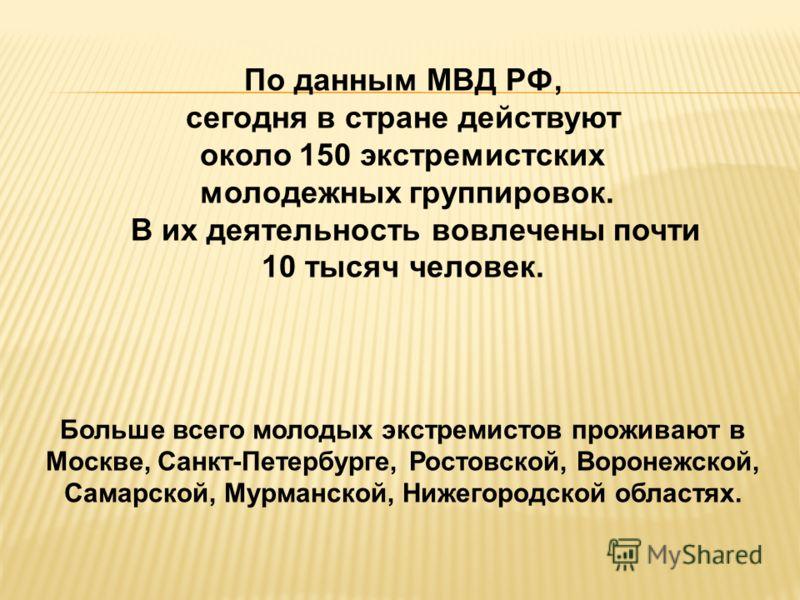 По данным МВД РФ, сегодня в стране действуют около 150 экстремистских молодежных группировок. В их деятельность вовлечены почти 10 тысяч человек. Больше всего молодых экстремистов проживают в Москве, Санкт-Петербурге, Ростовской, Воронежской, Самарск