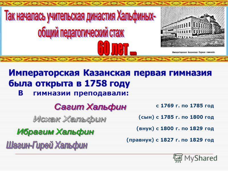 В гимназии преподавали: с 1769 г. по 1785 год (сын) с 1785 г. по 1800 год (внук) с 1800 г. по 1829 год (правнук) с 1827 г. по 1829 год Императорская Казанская первая гимназия была открыта в 1758 году