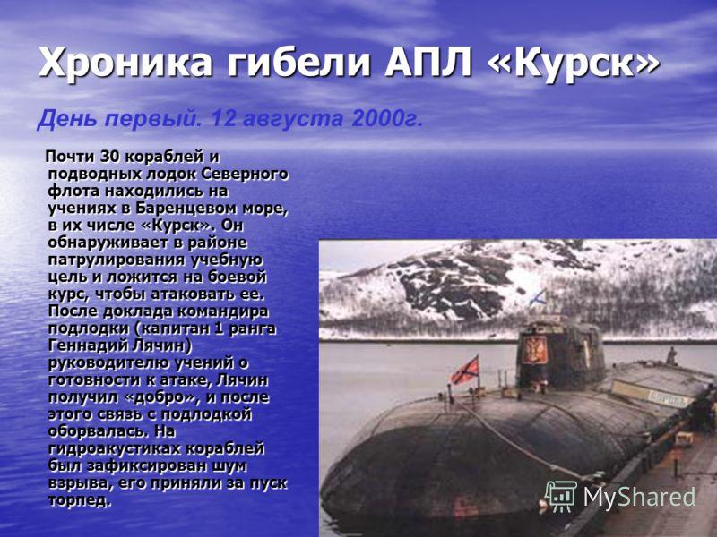 Хроника гибели АПЛ «Курск» Почти 30 кораблей и подводных лодок Северного флота находились на учениях в Баренцевом море, в их числе «Курск». Он обнаруживает в районе патрулирования учебную цель и ложится на боевой курс, чтобы атаковать ее. После докла