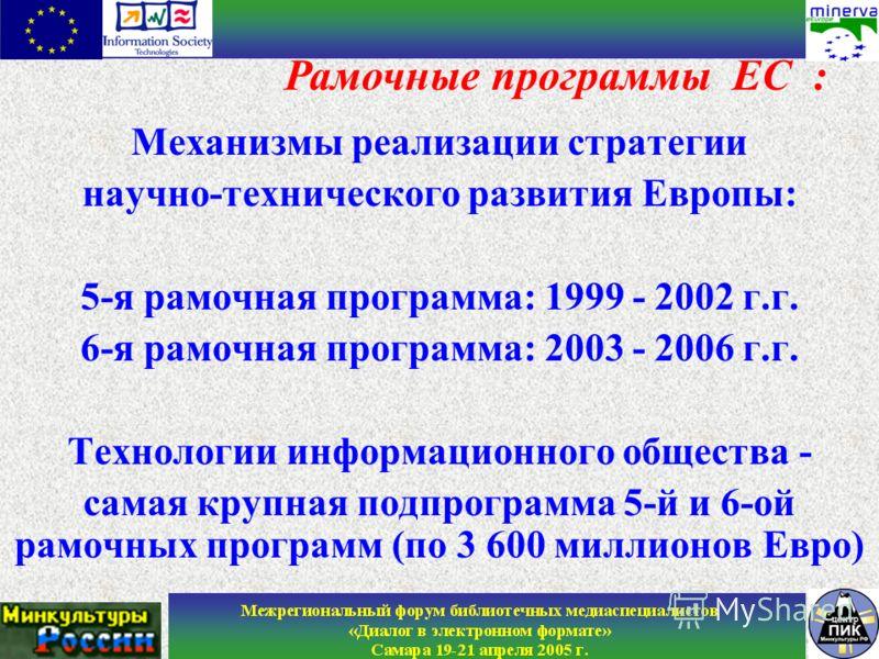 Механизмы реализации стратегии научно-технического развития Европы: 5-я рамочная программа: 1999 - 2002 г.г. 6-я рамочная программа: 2003 - 2006 г.г. Технологии информационного общества - самая крупная подпрограмма 5-й и 6-ой рамочных программ (по 3