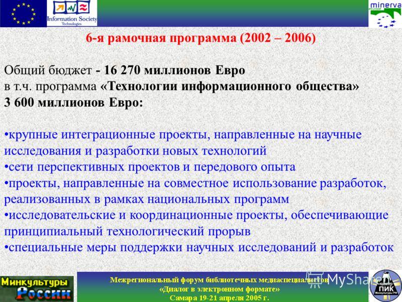 6-я рамочная программа (2002 – 2006) Общий бюджет - 16 270 миллионов Евро в т.ч. программа «Технологии информационного общества» 3 600 миллионов Евро: крупные интеграционные проекты, направленные на научные исследования и разработки новых технологий