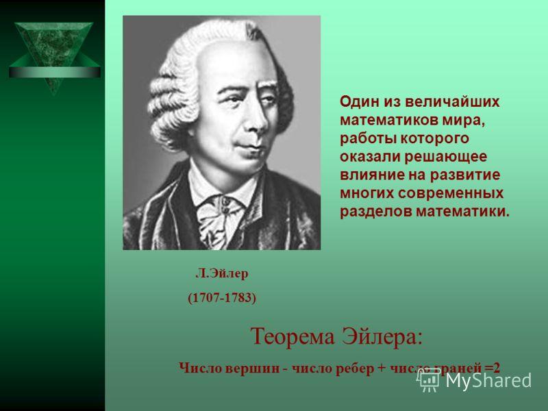Теорема Эйлера: Число вершин - число ребер + число граней =2 Один из величайших математиков мира, работы которого оказали решающее влияние на развитие многих современных разделов математики. Л.Эйлер (1707-1783)