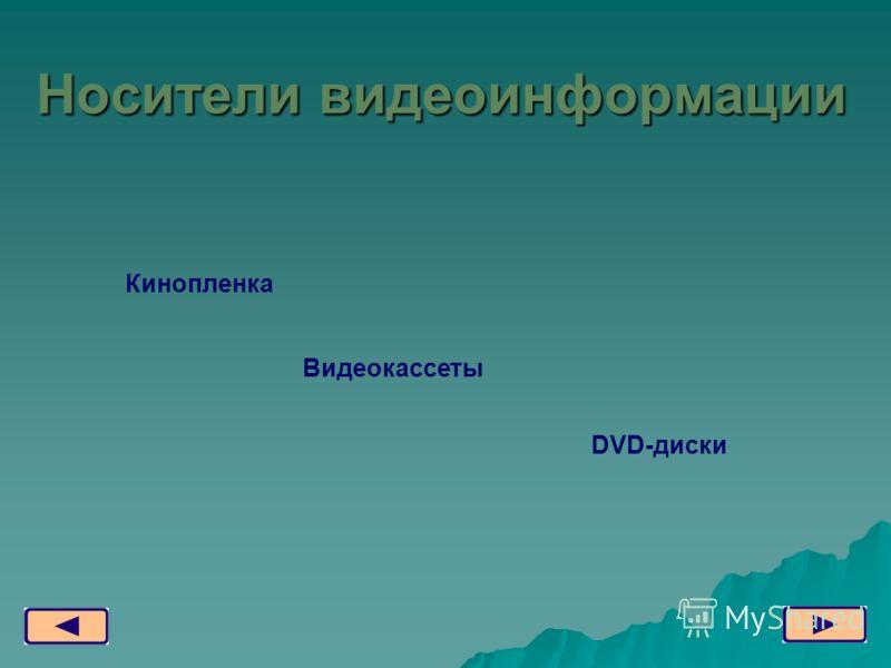 Видеокассеты DVD-диски Кинопленка Носители видеоинформации