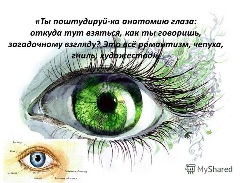 «Ты поштудируй-ка анатомию глаза: откуда тут взяться, как ты говоришь, загадочному взгляду? Это всё романтизм, чепуха, гниль, художество».