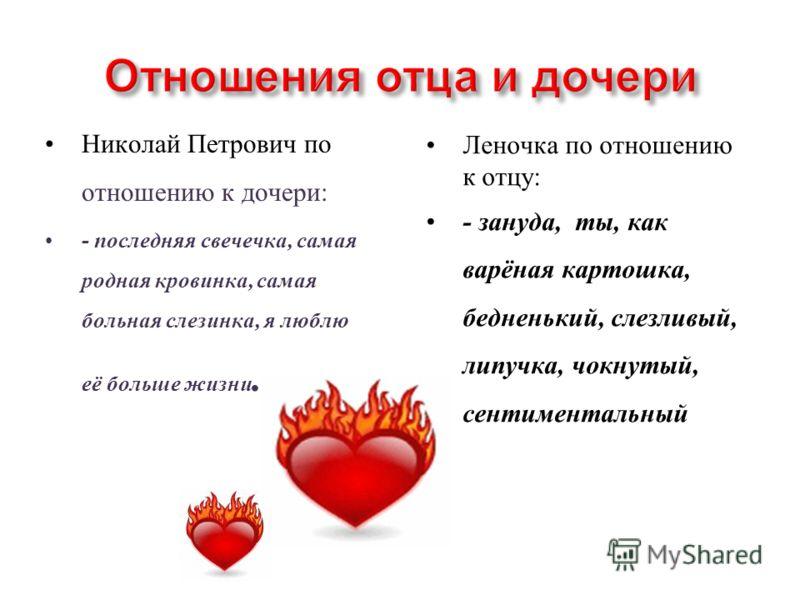 Николай Петрович по отношению к дочери: - последняя свечечка, самая родная кровинка, самая больная слезинка, я люблю её больше жизни. Леночка по отношению к отцу: - зануда, ты, как варёная картошка, бедненький, слезливый, липучка, чокнутый, сентимент