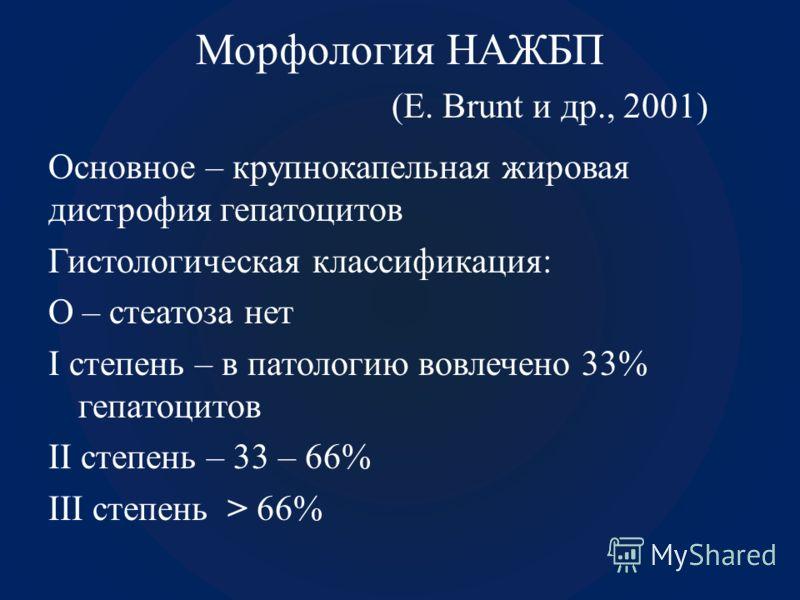 Морфология НАЖБП (E. Brunt и др., 2001) Основное – крупнокапельная жировая дистрофия гепатоцитов Гистологическая классификация: О – стеатоза нет I степень – в патологию вовлечено 33% гепатоцитов II степень – 33 – 66% III степень > 66%