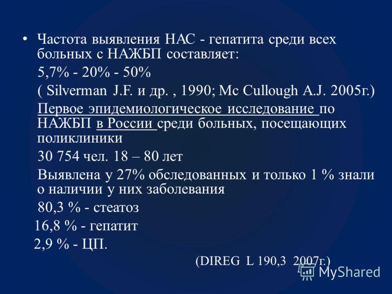 Частота выявления НАС - гепатита среди всех больных с НАЖБП составляет: 5,7% - 20% - 50% ( Silverman J.F. и др., 1990; Mc Cullough A.J. 2005г.) Первое эпидемиологическое исследование по НАЖБП в России среди больных, посещающих поликлиники 30 754 чел.