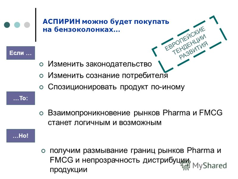 Изменить законодательство Изменить сознание потребителя Спозиционировать продукт по-иному АСПИРИН можно будет покупать на бензоколонках… Если … …То: Взаимопроникновение рынков Pharma и FMCG станет логичным и возможным …Но! получим размывание границ р