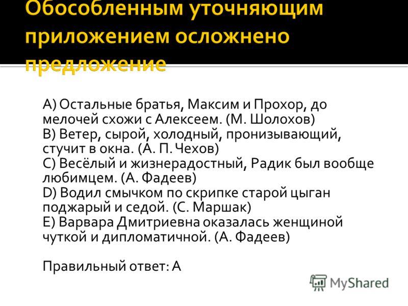 A) Остальные братья, Максим и Прохор, до мелочей схожи с Алексеем. (М. Шолохов) B) Ветер, сырой, холодный, пронизывающий, стучит в окна. (А. П. Чехов) C) Весёлый и жизнерадостный, Радик был вообще любимцем. (А. Фадеев) D) Водил смычком по скрипке ста
