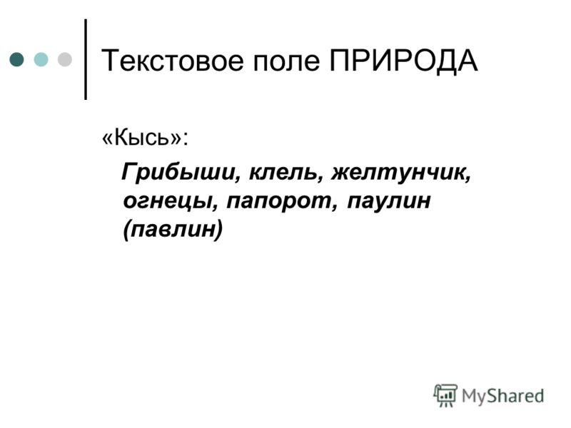 Текстовое поле ПРИРОДА «Кысь»: Грибыши, клель, желтунчик, огнецы, папорот, паулин (павлин)
