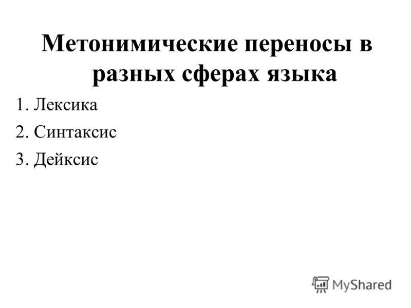 Метонимические переносы в разных сферах языка 1. Лексика 2. Синтаксис 3. Дейксис