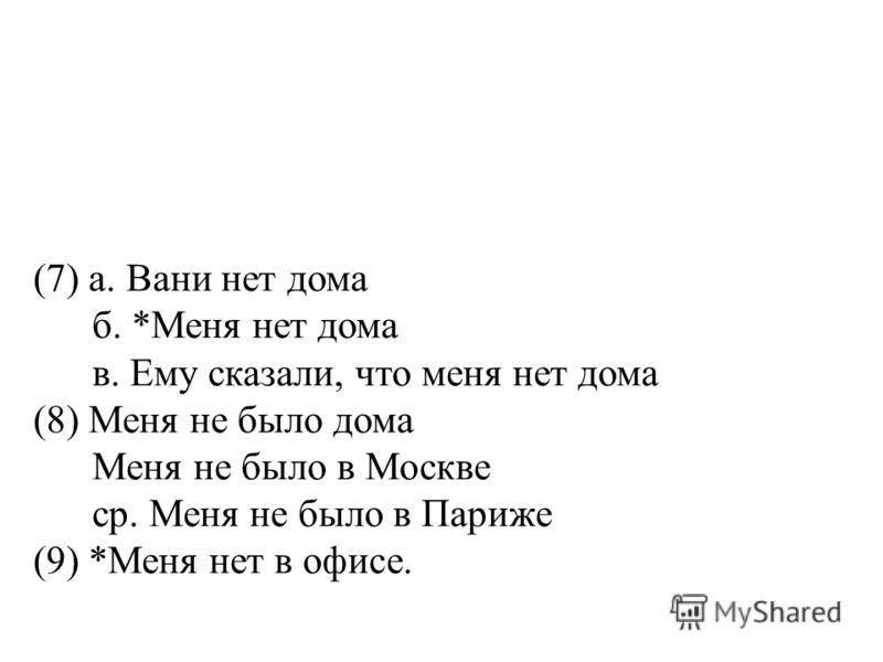(7) а. Вани нет дома б. *Меня нет дома в. Ему сказали, что меня нет дома (8) Меня не было дома Меня не было в Москве ср. Меня не было в Париже (9) *Меня нет в офисе.