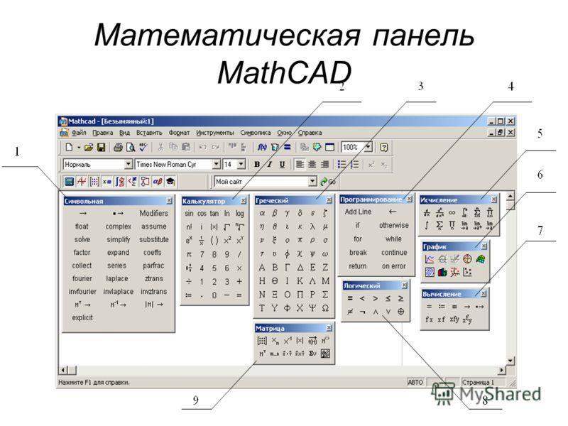 Математическая панель MathCAD