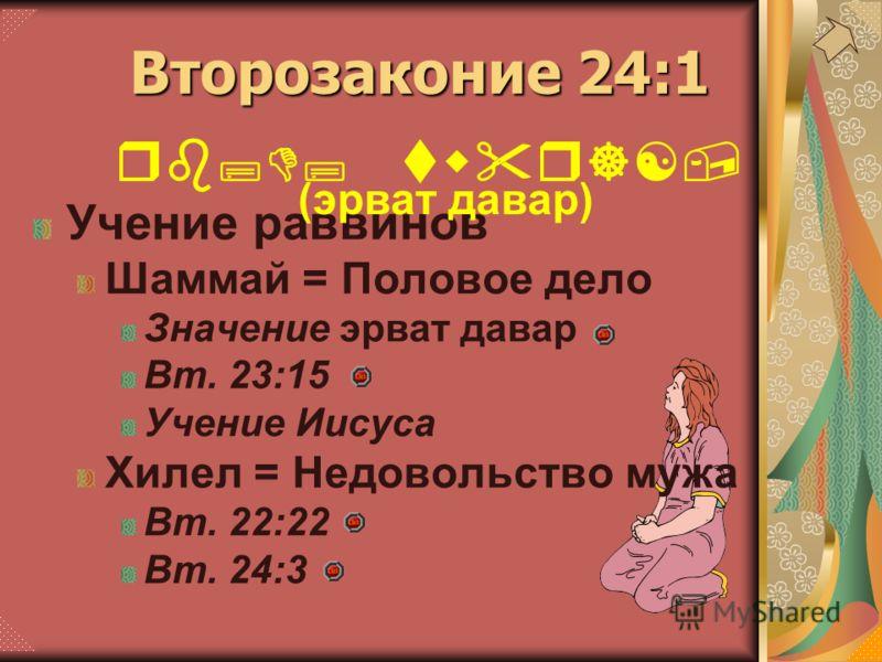 Учение раввинов Шаммай = Половое дело Значение эрват давар Вт. 23:15 Учение Иисуса Хилел = Недовольство мужа Вт. 22:22 Вт. 24:3 Второзаконие 24:1 rb;D; twr][, (эрват давар)