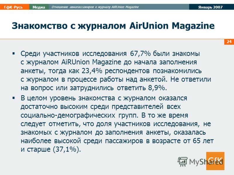 Январь 2007 ГфК-РусьМедиа Отношение авиапассажиров к журналу AiRUnion Magazine 24 Знакомство с журналом AirUnion Magazine Среди участников исследования 67,7% были знакомы с журналом AiRUnion Magazine до начала заполнения анкеты, тогда как 23,4% респо
