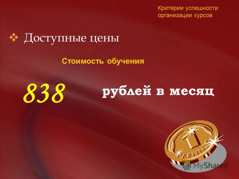 Доступные цены рублей в месяц Стоимость обучения 838 Критерии успешности организации курсов