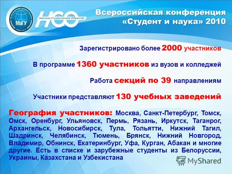 Зарегистрировано более 2000 участников В программе 1360 участников из вузов и колледжей Работа секций по 39 направлениям Участники представляют 130 учебных заведений География участников: Москва, Санкт-Петербург, Томск, Омск, Оренбург, Ульяновск, Пер