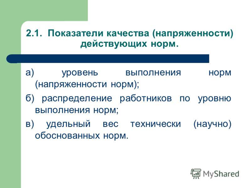 2.1. Показатели качества (напряженности) действующих норм. а) уровень выполнения норм (напряженности норм); б) распределение работников по уровню выпо