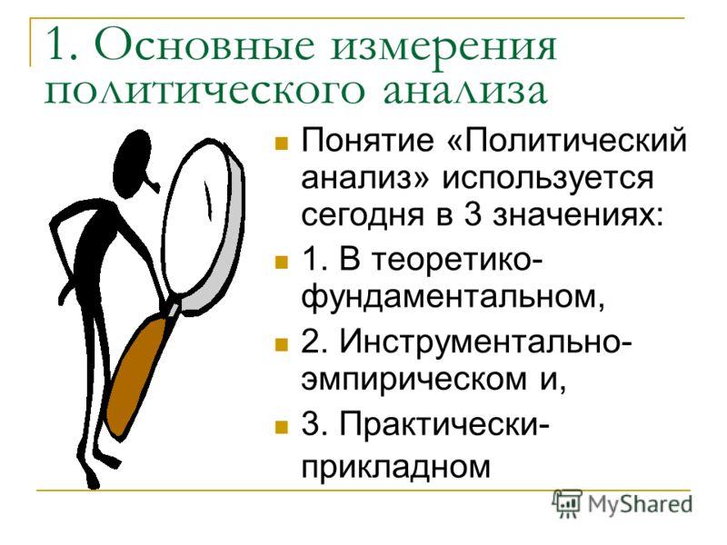 Структура лекции : 1. Основные измерения политического анализа. 2. Определения прикладного политического анализа 3. Политический анализ как поле деятельности и как дисциплина