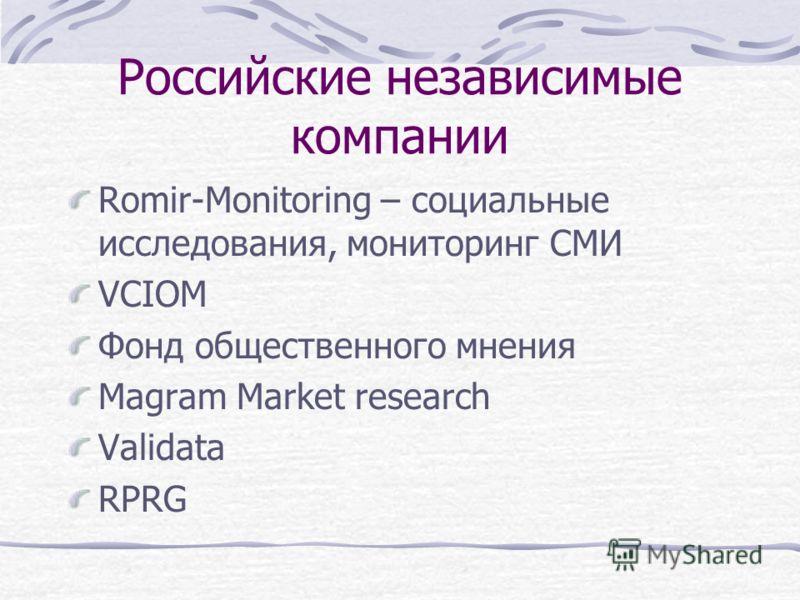 Российские независимые компании Romir-Monitoring – социальные исследования, мониторинг СМИ VCIOM Фонд общественного мнения Magram Market research Validata RPRG