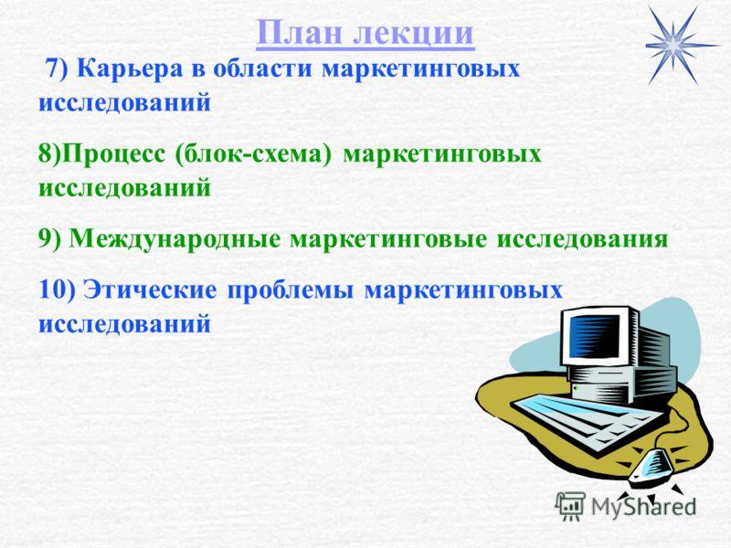 7) Карьера в области маркетинговых исследований 8)Процесс (блок-схема) маркетинговых исследований 9) Международные маркетинговые исследования 10) Этические проблемы маркетинговых исследований План лекции