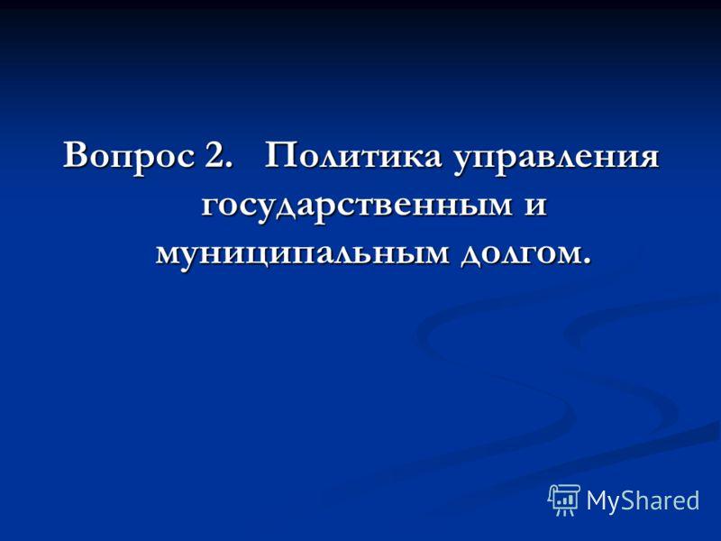Вопрос 2. Политика управления государственным и муниципальным долгом.