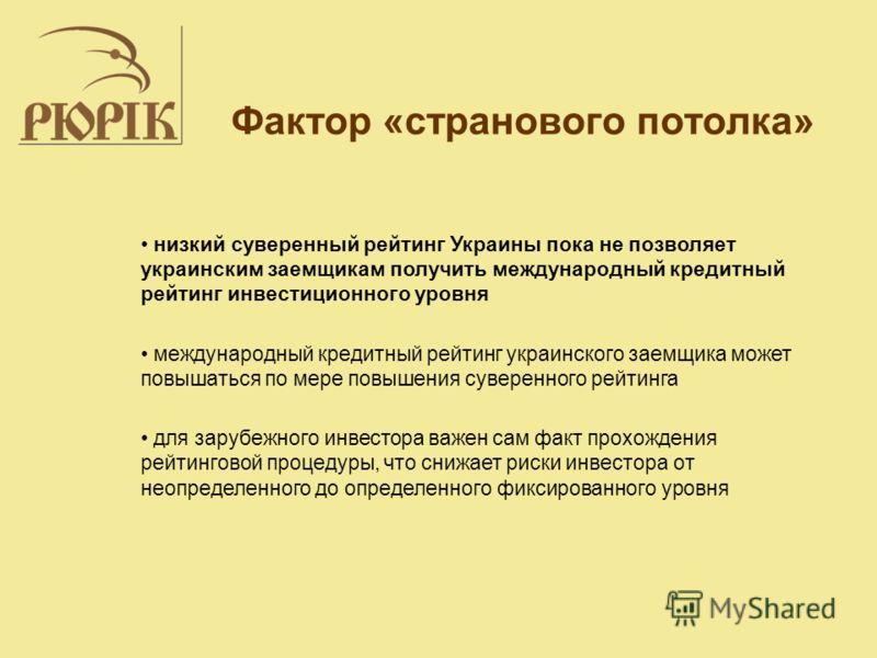 Фактор «странового потолка» низкий суверенный рейтинг Украины пока не позволяет украинским заемщикам получить международный кредитный рейтинг инвестиционного уровня международный кредитный рейтинг украинского заемщика может повышаться по мере повышен