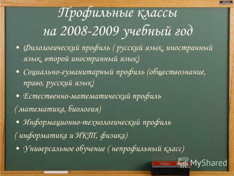 Профильные классы на 2008-2009 учебный год Филологический профиль ( русский язык, иностранный язык, второй иностранный язык) Социально-гуманитарный профиль (обществознание, право, русский язык) Естественно-математический профиль ( математика, биологи