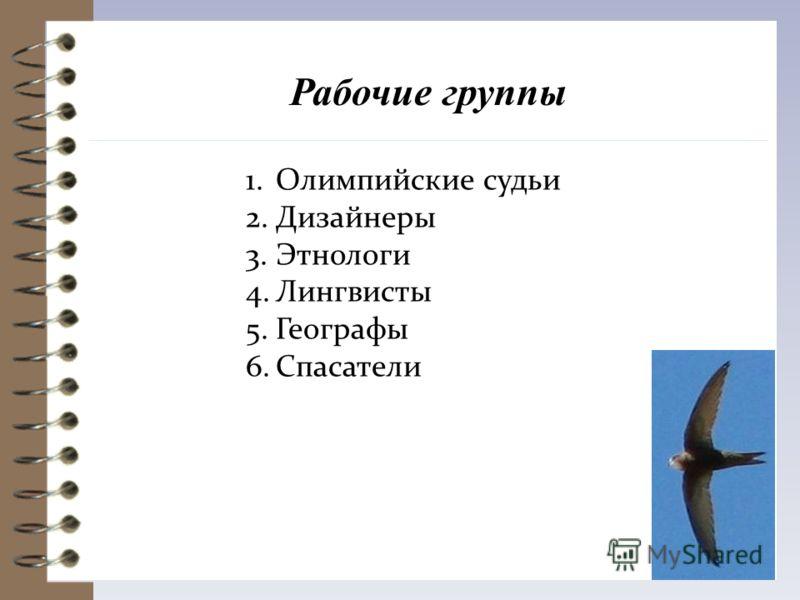 Рабочие группы 1.Олимпийские судьи 2.Дизайнеры 3.Этнологи 4.Лингвисты 5.Географы 6.Спасатели