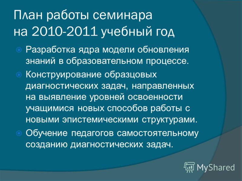 План работы семинара на 2010-2011 учебный год Разработка ядра модели обновления знаний в образовательном процессе. Конструирование образцовых диагностических задач, направленных на выявление уровней освоенности учащимися новых способов работы с новым