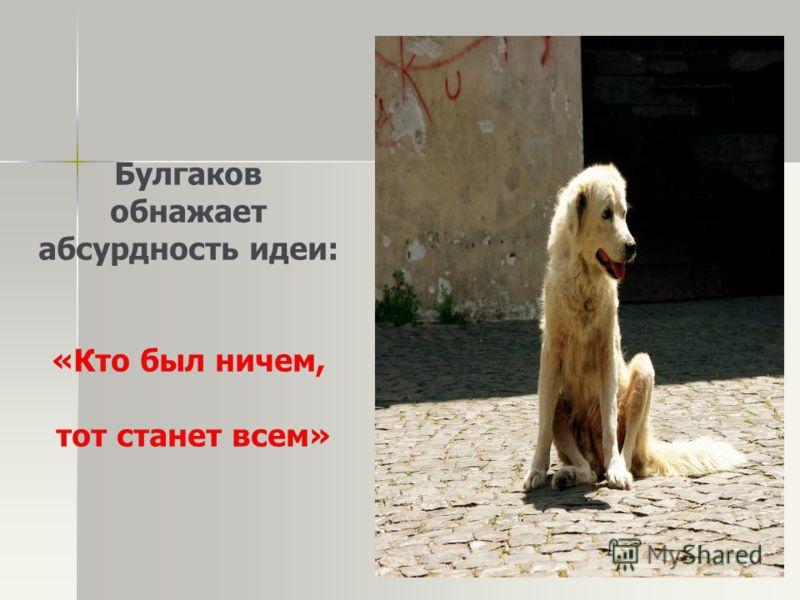 Булгаков обнажает абсурдность идеи: «Кто был ничем, тот станет всем»