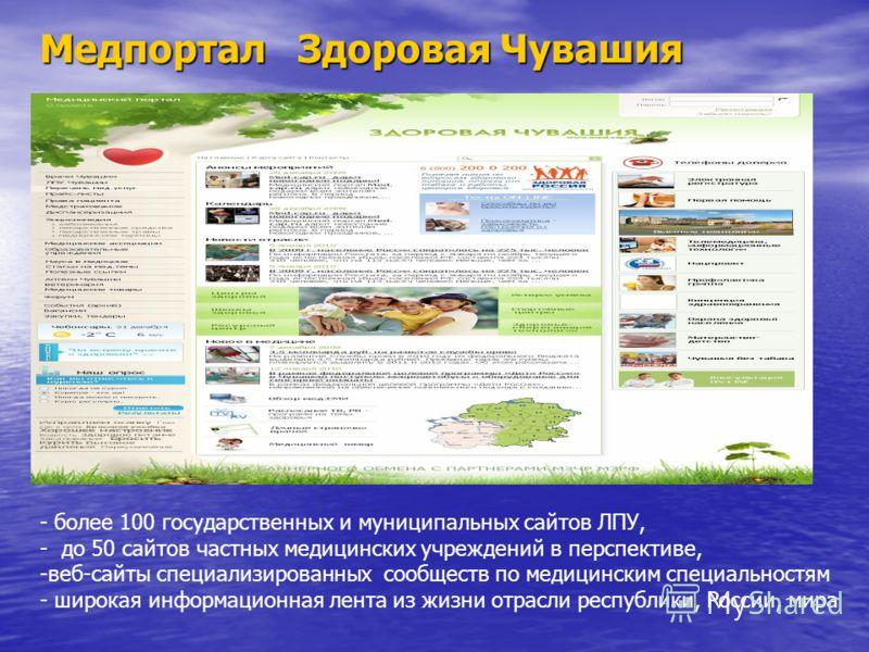 Медпортал Здоровая Чувашия - более 100 государственных и муниципальных сайтов ЛПУ, - до 50 сайтов частных медицинских учреждений в перспективе, -веб-сайты специализированных сообществ по медицинским специальностям - широкая информационная лента из жи