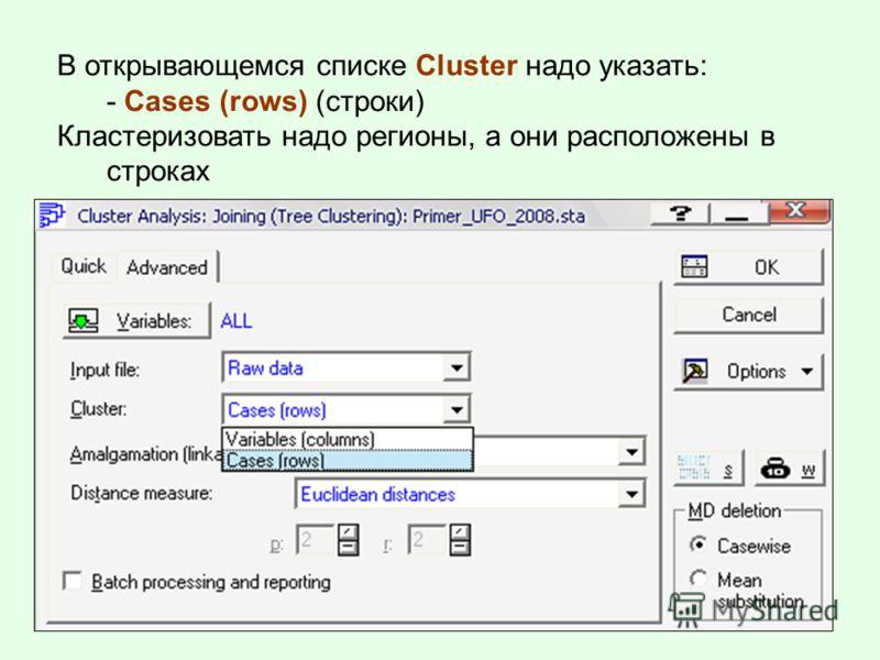 В открывающемся списке Cluster надо указать: - Cases (rows) (строки) Кластеризовать надо регионы, а они расположены в строках