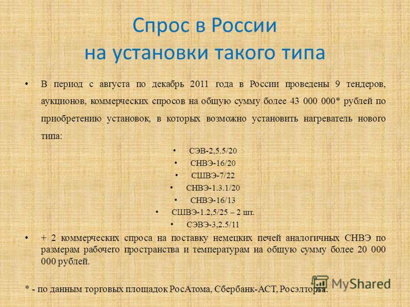 Спрос в России на установки такого типа В период с августа по декабрь 2011 года в России проведены 9 тендеров, аукционов, коммерческих спросов на общую сумму более 43 000 000* рублей по приобретению установок, в которых возможно установить нагревател